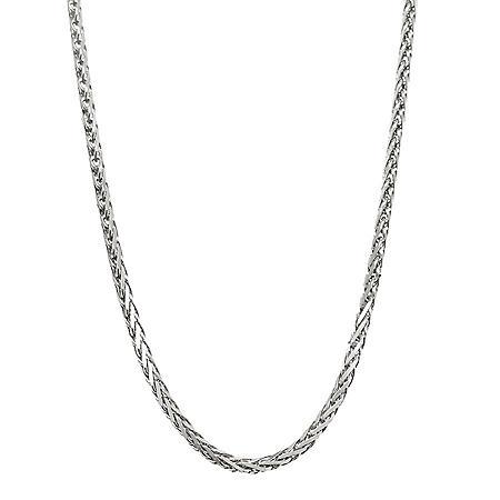 14K White Gold Diamond Cut Wheat Chain