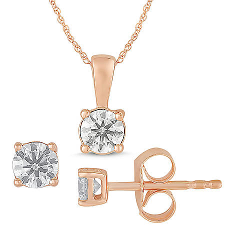 0.50 CT. T.W. Diamond Stud Earrings and Pendant Box Set in 14K Rose Gold