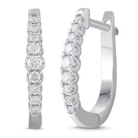 0.20 CT. T.W. Diamond Hoop Earrings in 14K White Gold