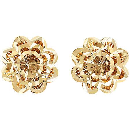 14K Gold Diamond Cut Flower Stud Earrings