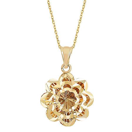 14K Gold Diamond Cut Flower Pendant