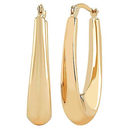 14K Gold High Polish Elongated Hoop Earrings