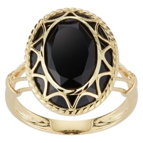 Oval Black Onyx Ring in 14K Yellow Gold