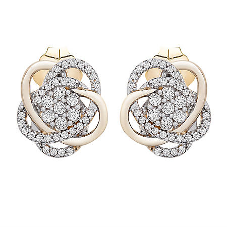 0.25 CT. T.W. Diamond Love Knot Stud Earrings in 14K Yellow Gold
