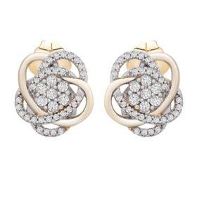 0.25 CT. T.W. Diamond Love Knot Stud Earrings in 14K Yellow Gold
