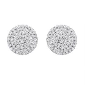0.50 CT. T.W. Diamond Circle Disc Stud Earrings in 14K White Gold