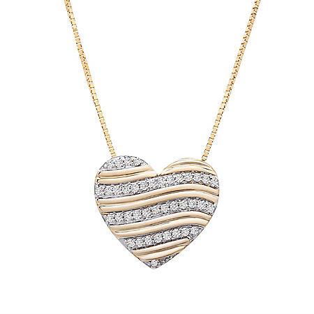 0.10 CT. T.W. Diamond Stripe Heart Pendant in 14K Yellow Gold