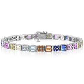 Multi Color Created Sapphire Bracelet in Sterling Silver