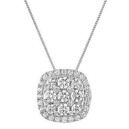1.00 CT. T.W. Cushion Diamond Halo Pendant in 14K White Gold