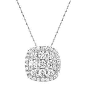 1.00 CT. T.W. Cushion Diamond Halo Pendant in 14K White Gold