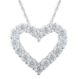 1.50 CT. T.W. Diamond Heart Pendant in 14K White Gold