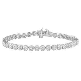 3.50 CT. T.W. Cluster Diamond Tennis Bracelet in 14K White Gold