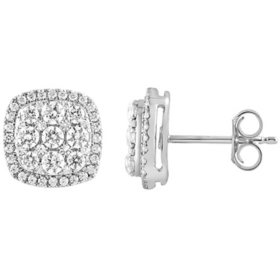 1.00 CT. T.W. Cushion Cut Diamond Halo Earrings in 14K White Gold
