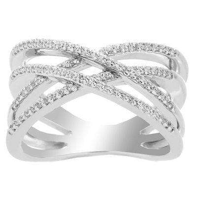925.Sterling Silver Ring 7ga Diamond Pattern Double to Triple Band Ring