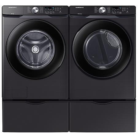 Samsung 4.5 cu. ft. Front-Load Washer & 7.5 cu. ft. Electric Dryer on Pedestals - Black Stainless Steel