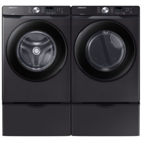 Samsung 4.5 cu. ft. Front-Load Washer & 7.5 cu. ft. Electric Dryer on Pedestals - Black Stainless Steel