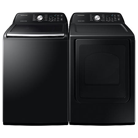 Samsung 4.5 cu .ft. Top Load-Washer & 7.4 cu. ft. Electric Dryer - Black Stainless Steel