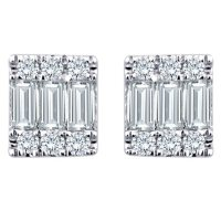 0.17 CT. T.W. Baguette and Round Diamond Earrings in 14K White Gold