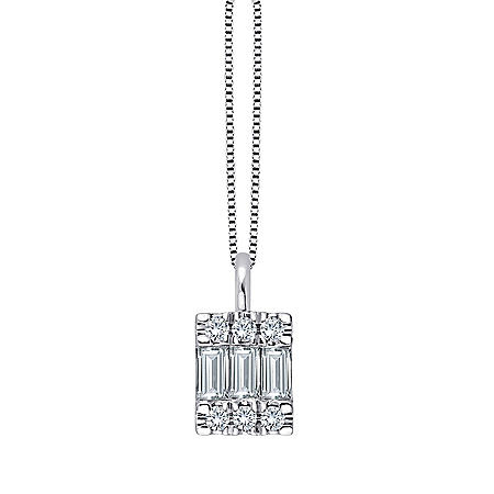 0.23 CT. T.W. Baguette and Round Diamond Pendant in 14K White Gold
