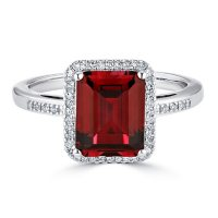 Lab Created Ruby and 0.14 CT. T.W. Diamond Ring in Sterling Silver