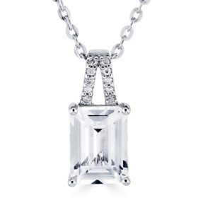 Emerald Cut Gemstone Pendant with Diamond Accent in Sterling Silver