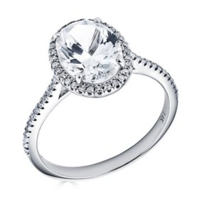 Oval Lab Created White Sapphire and 0.18 CT. T.W. Diamond Ring in 14K Gold