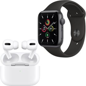 Apple Watch SE 44mm GPS (Space Gray/Black) + Apple AirPods Pro with Wireless Charging Case