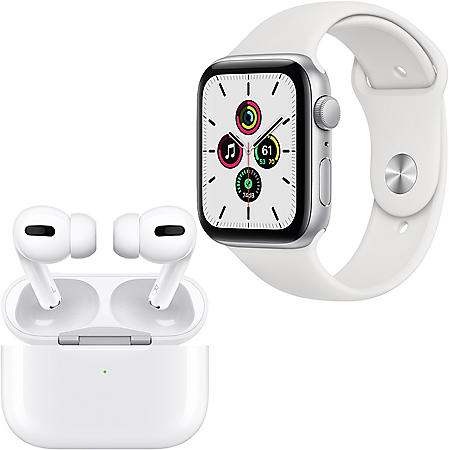 Apple Watch SE 44mm GPS (Silver/White) + Apple AirPods Pro with Wireless Charging Case