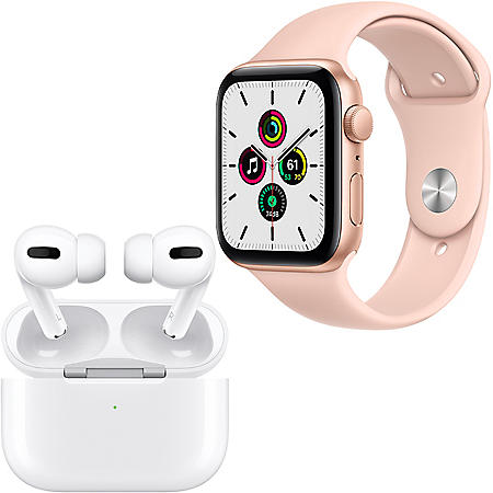 Apple Watch SE 44mm GPS (Gold/Pink) + Apple AirPods Pro with Wireless Charging Case