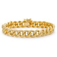 1.95 CT. T.W. Diamond Curb Link Bracelet in 14K Yellow Gold (H-I, I1)