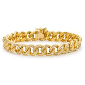 1.95 CT. T.W. Diamond Curb Link Bracelet in 14K Yellow Gold (H-I, I1)