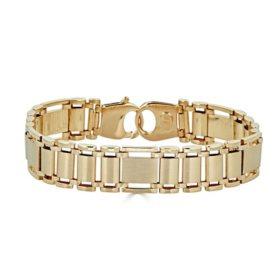 "Men's 14K Yellow Gold High Polish Link Bracelet, 8.5"""