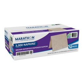 Marathon Interfold 1-Ply Napkins, Brown, 3000 Per Case (250 napkins/pk., 12 pk.)
