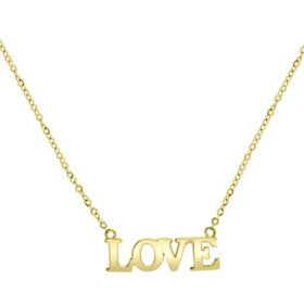 """14K Yellow Gold """"Love"""" Necklace"""