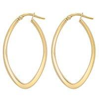 14K Italian Yellow Gold Oval Hoop Earrings