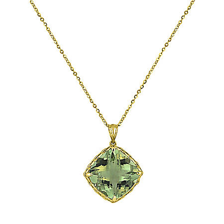"14K Gold Prasiolite Pendant with 16""-18"" Chain"