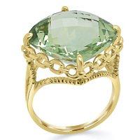 14K Gold Treated Prasiolite Ring