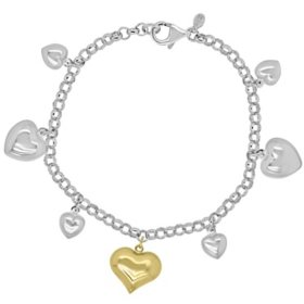 Sterling Silver and 14K Heart Charm Bracelet