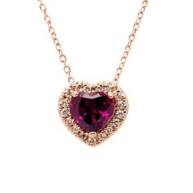 Rhodolite Garnet and 0.085 CT. T.W. Diamond Pendant in 14K Rose Gold