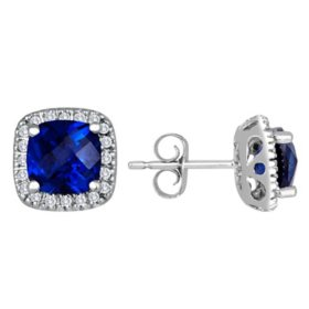 Lab Blue Sapphire and 0.15 CT. T.W. Diamond Earrings in 14K Gold