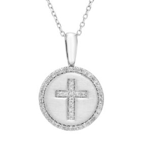 0.14 CT. T.W. Diamond Cross Charm Necklace in Sterling Silver