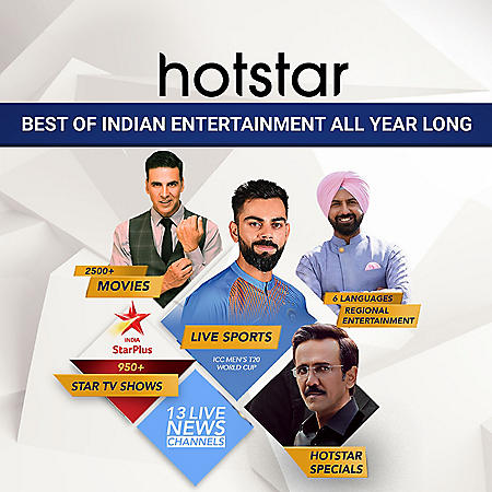 Hotstar USA Annual Subscription - Watch Indian TV Shows + Live Cricket Matches Streaming Online