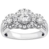 1.00 CT. T.W. Diamond Three Stone Halo Ring in 14K White Gold