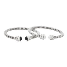 Set of Onyx and Howlite Gemstone Bangles in Italian Sterling Silver