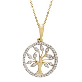 0.12 CT. T.W. Diamond Tree of Life Pendant in 14k Yellow Gold (I, I1)