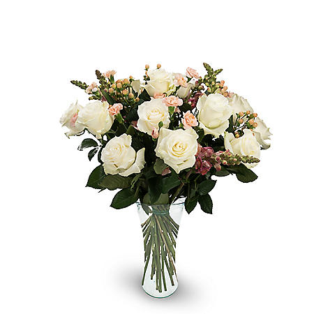 Premium Fortuna Mixed Rose Bouquet, White