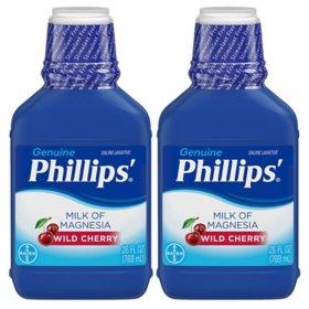 Phillips' Milk of Magnesia Liquid Laxative, Wild Cherry Flavor (26 fl. oz., 2 pk.)