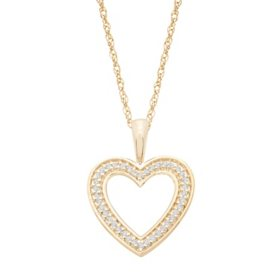0.10 CT. T.W. Diamond Heart Pendant in 14K Yellow Gold