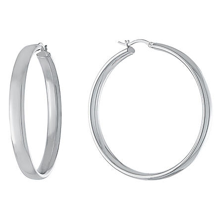 Sterling Silver High Polished Wedding Band Style Hoops