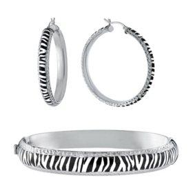 Sterling Silver Zebra Pattern Enamel Bangle and Earrings Set